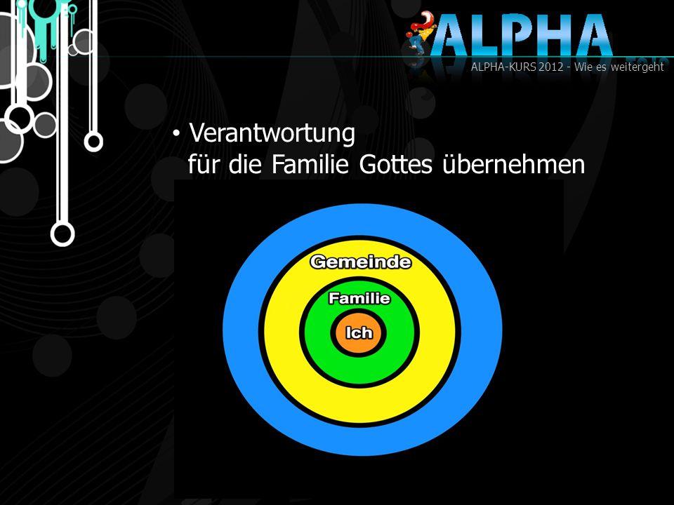 ALPHA-KURS 2012 - Wie es weitergeht Verantwortung für die Familie Gottes übernehmen