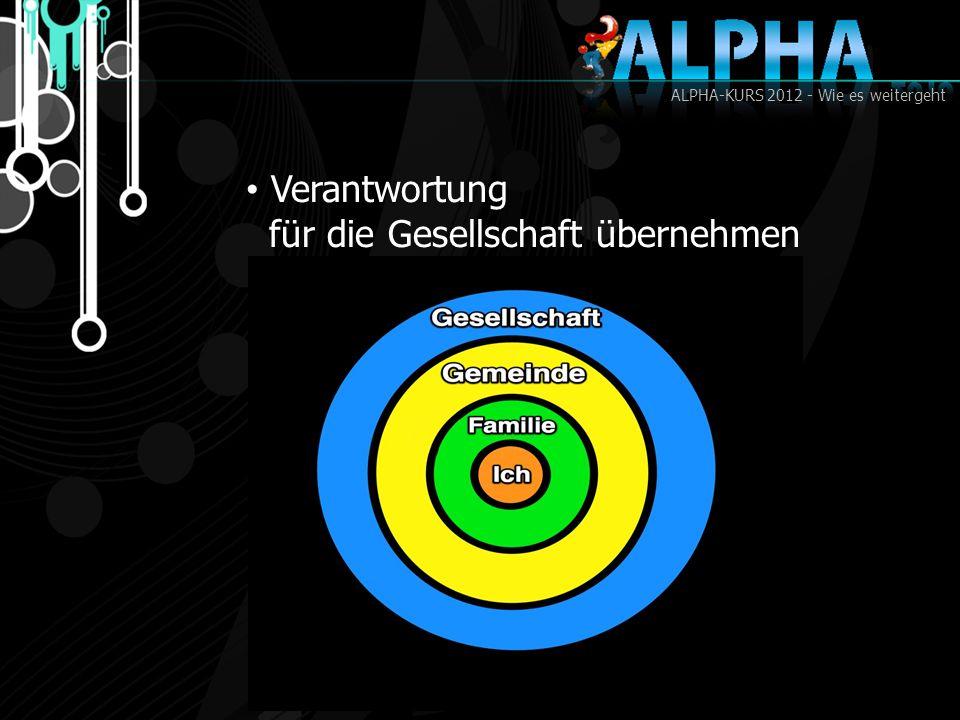 ALPHA-KURS 2012 - Wie es weitergeht Verantwortung für die Gesellschaft übernehmen