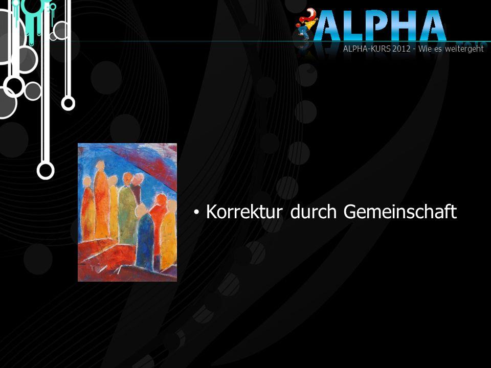ALPHA-KURS 2012 - Wie es weitergeht Korrektur durch Gemeinschaft