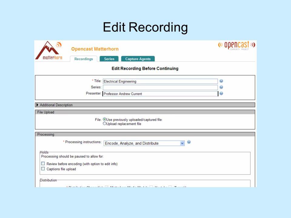 Edit Recording