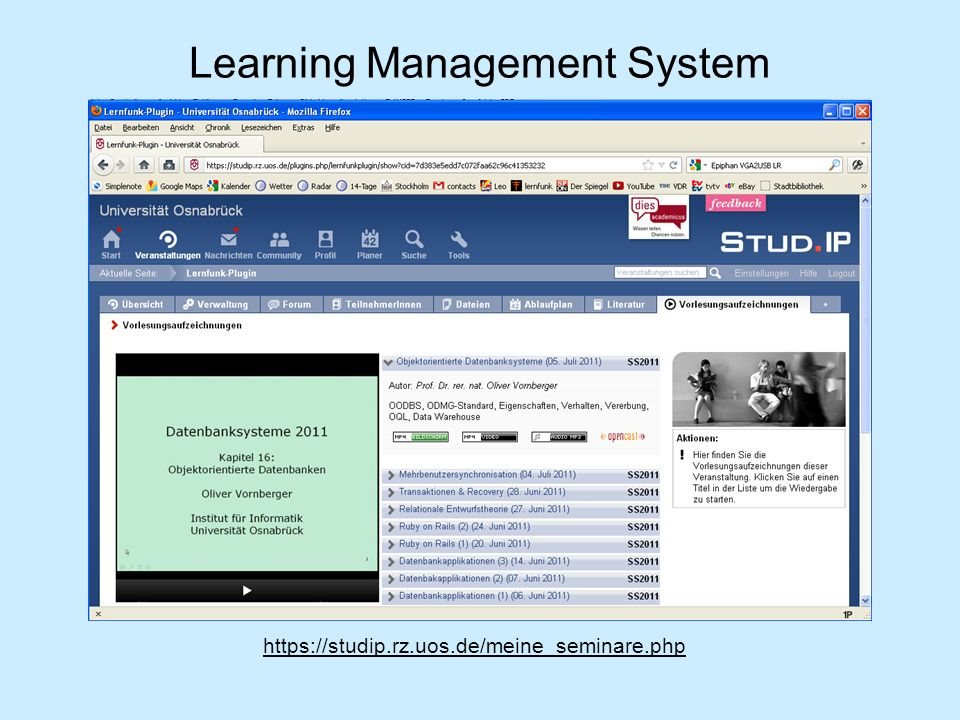 Learning Management System https://studip.rz.uos.de/meine_seminare.php