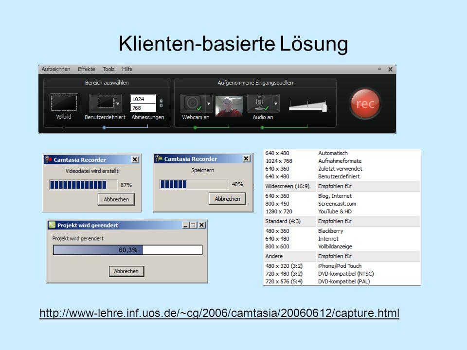 Klienten-basierte Lösung http://www-lehre.inf.uos.de/~cg/2006/camtasia/20060612/capture.html
