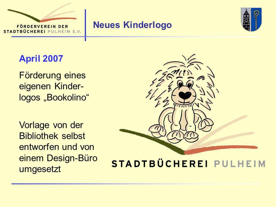 Neues Kinderlogo April 2007 Förderung eines eigenen Kinder- logos Bookolino Vorlage von der Bibliothek selbst entworfen und von einem Design-Büro umgesetzt