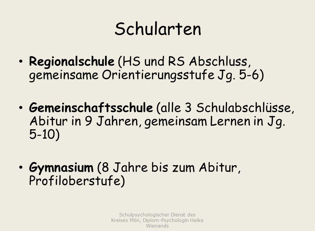 Schularten Regionalschule (HS und RS Abschluss, gemeinsame Orientierungsstufe Jg.