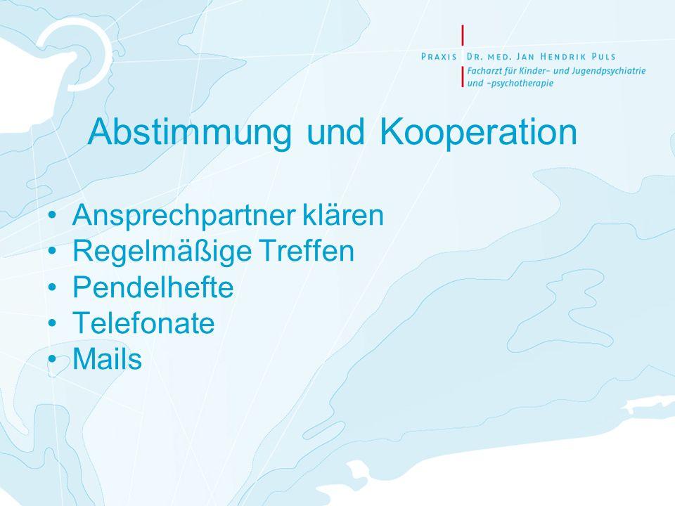 Abstimmung und Kooperation Ansprechpartner klären Regelmäßige Treffen Pendelhefte Telefonate Mails