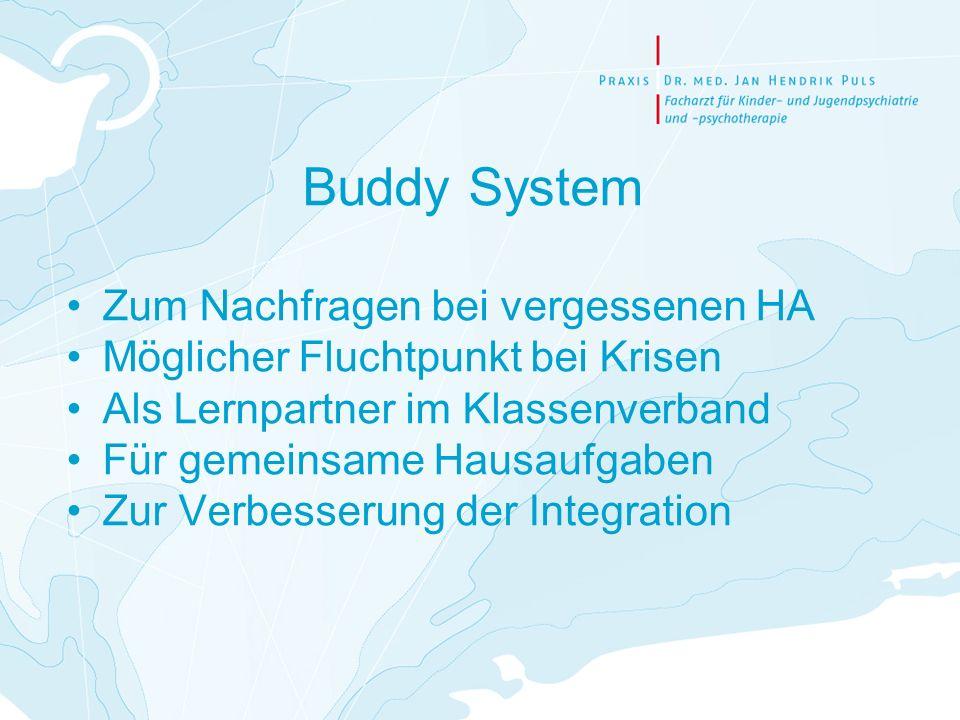 Buddy System Zum Nachfragen bei vergessenen HA Möglicher Fluchtpunkt bei Krisen Als Lernpartner im Klassenverband Für gemeinsame Hausaufgaben Zur Verb