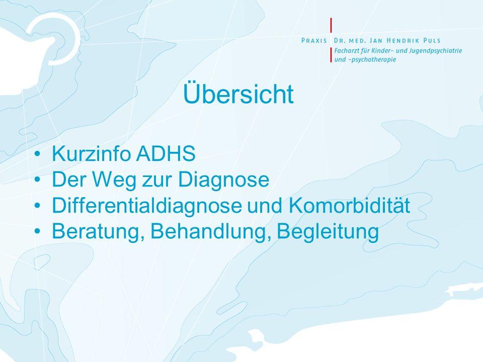 Übersicht Kurzinfo ADHS Der Weg zur Diagnose Differentialdiagnose und Komorbidität Beratung, Behandlung, Begleitung
