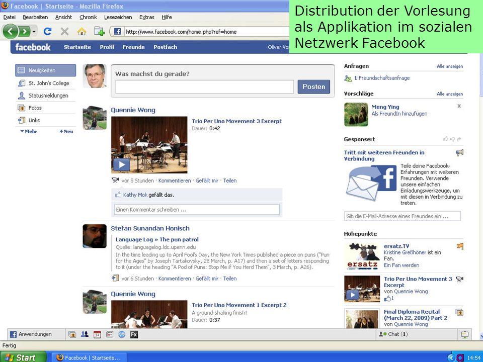 Distribution der Vorlesung als Applikation im sozialen Netzwerk Facebook
