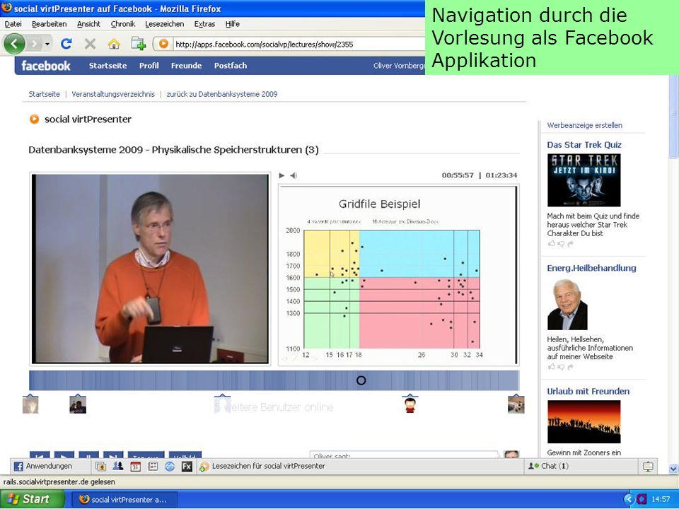 Navigation durch die Vorlesung als Facebook Applikation