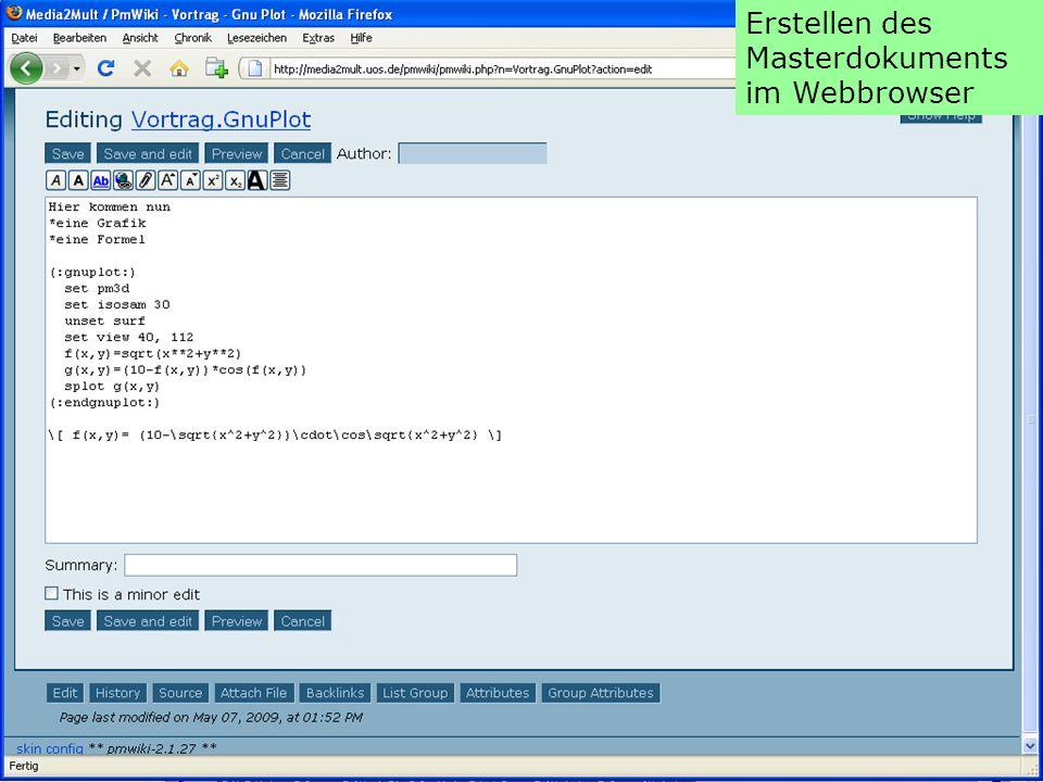 Darstellen der Online-Version als HTML-Seite
