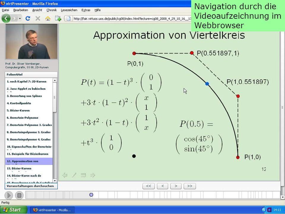 Navigation durch die Videoaufzeichnung im Webbrowser