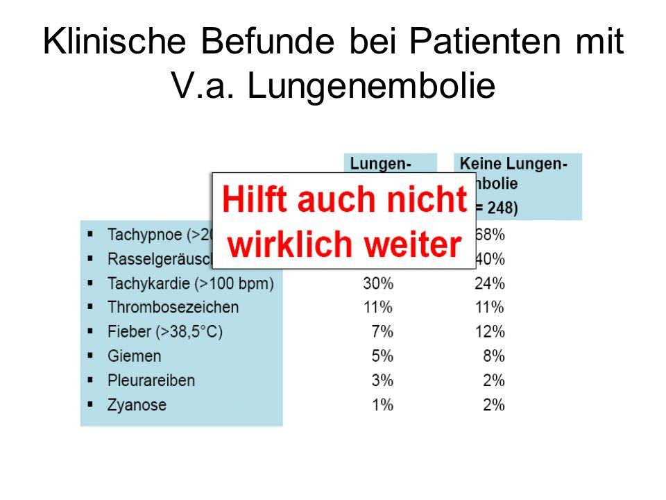 Klinische Befunde bei Patienten mit V.a. Lungenembolie