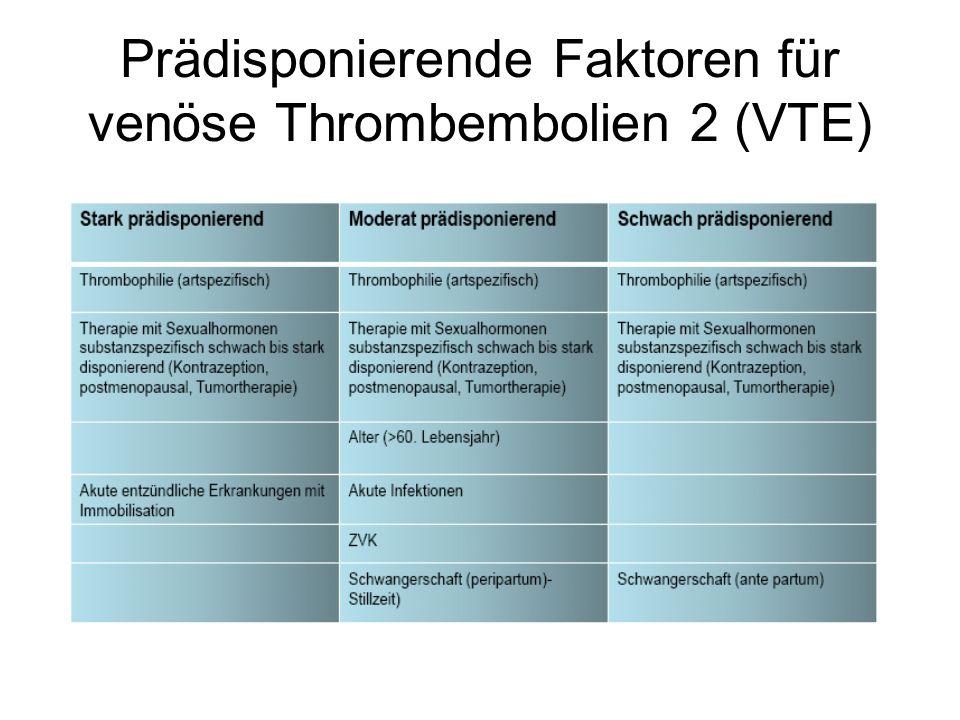 Prädisponierende Faktoren für venöse Thrombembolien 2 (VTE)