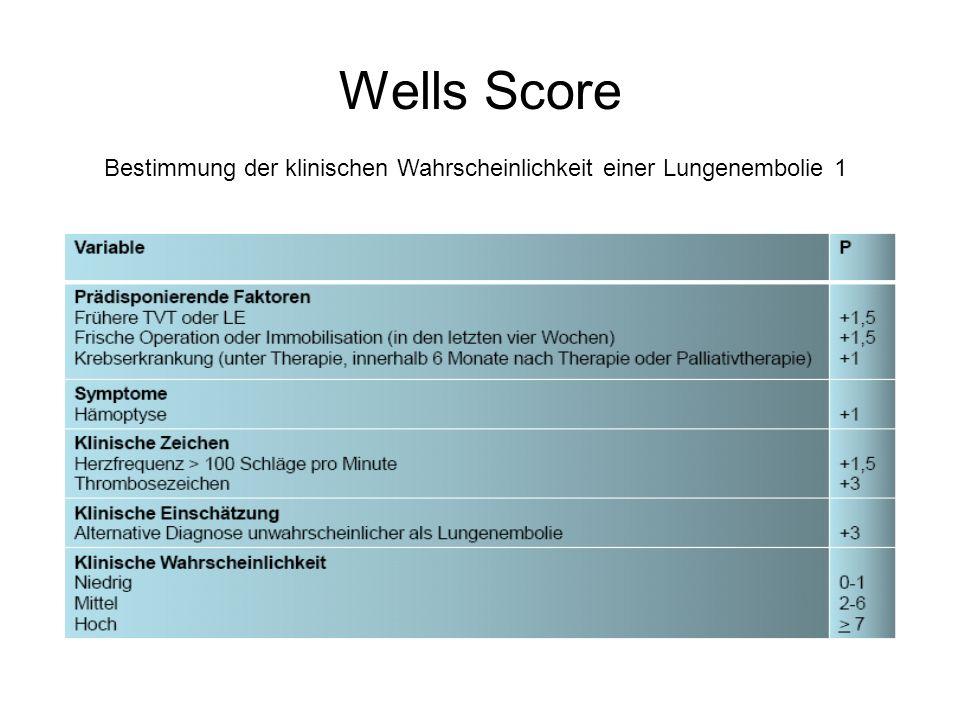 Wells Score Bestimmung der klinischen Wahrscheinlichkeit einer Lungenembolie 1