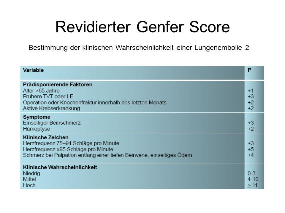 Revidierter Genfer Score Bestimmung der klinischen Wahrscheinlichkeit einer Lungenembolie 2