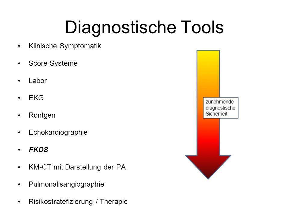Diagnostische Tools Klinische Symptomatik Score-Systeme Labor EKG Röntgen Echokardiographie FKDS KM-CT mit Darstellung der PA Pulmonalisangiographie R