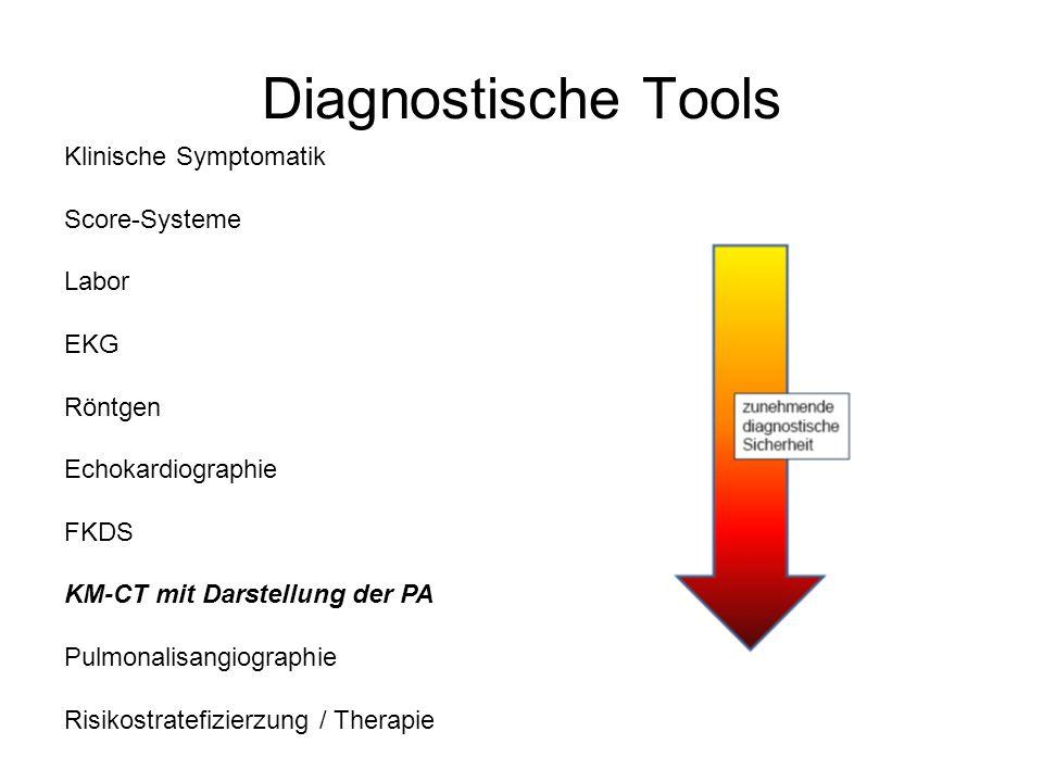 Diagnostische Tools Klinische Symptomatik Score-Systeme Labor EKG Röntgen Echokardiographie FKDS KM-CT mit Darstellung der PA Pulmonalisangiographie Risikostratefizierzung / Therapie