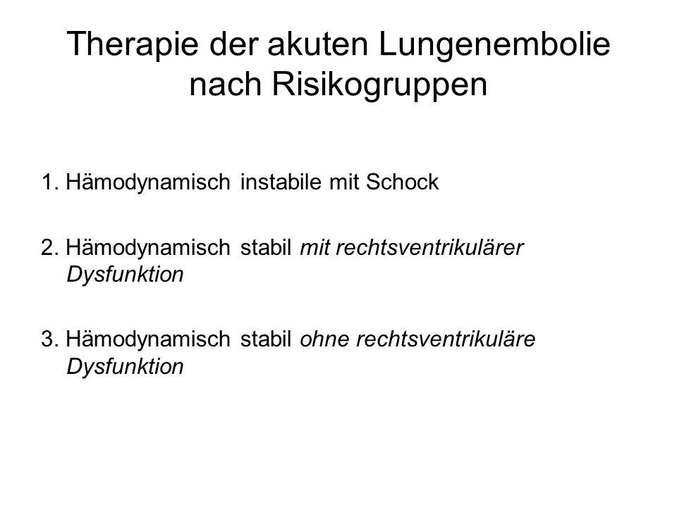 Therapie der akuten Lungenembolie nach Risikogruppen 1. Hämodynamisch instabile mit Schock 2. Hämodynamisch stabil mit rechtsventrikulärer Dysfunktion
