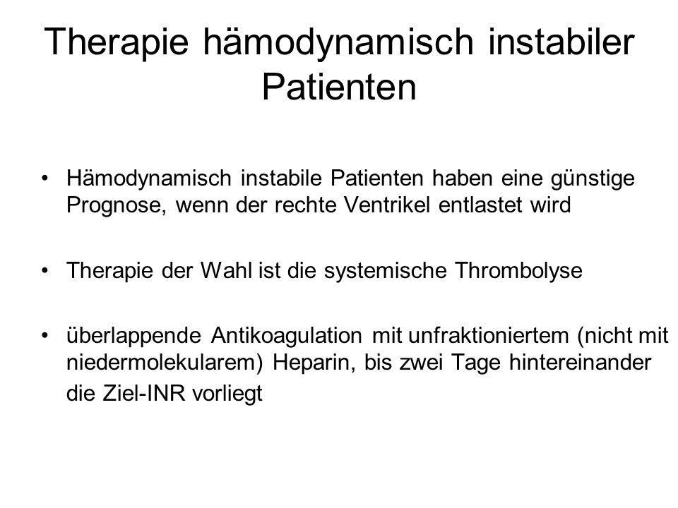 Therapie hämodynamisch instabiler Patienten Hämodynamisch instabile Patienten haben eine günstige Prognose, wenn der rechte Ventrikel entlastet wird T