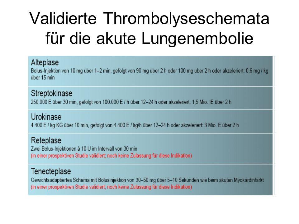 Validierte Thrombolyseschemata für die akute Lungenembolie
