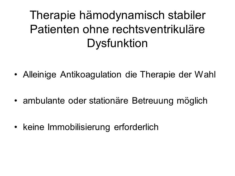 Therapie hämodynamisch stabiler Patienten ohne rechtsventrikuläre Dysfunktion Alleinige Antikoagulation die Therapie der Wahl ambulante oder stationäre Betreuung möglich keine Immobilisierung erforderlich