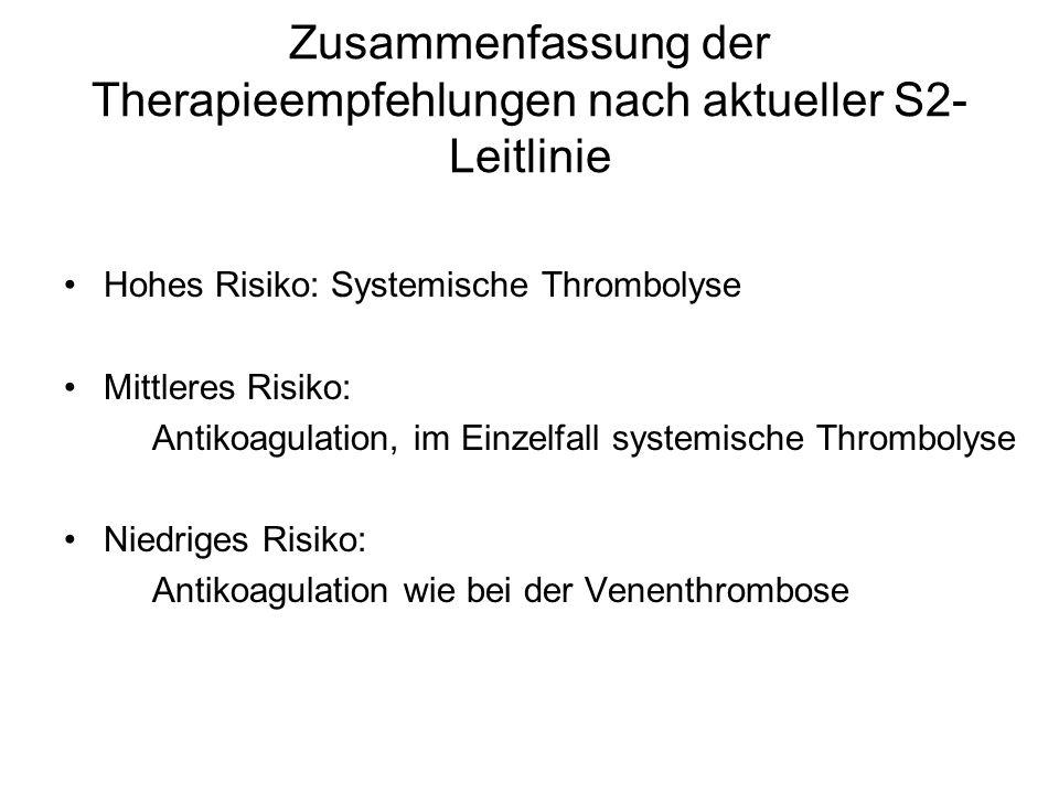Zusammenfassung der Therapieempfehlungen nach aktueller S2- Leitlinie Hohes Risiko: Systemische Thrombolyse Mittleres Risiko: Antikoagulation, im Einzelfall systemische Thrombolyse Niedriges Risiko: Antikoagulation wie bei der Venenthrombose