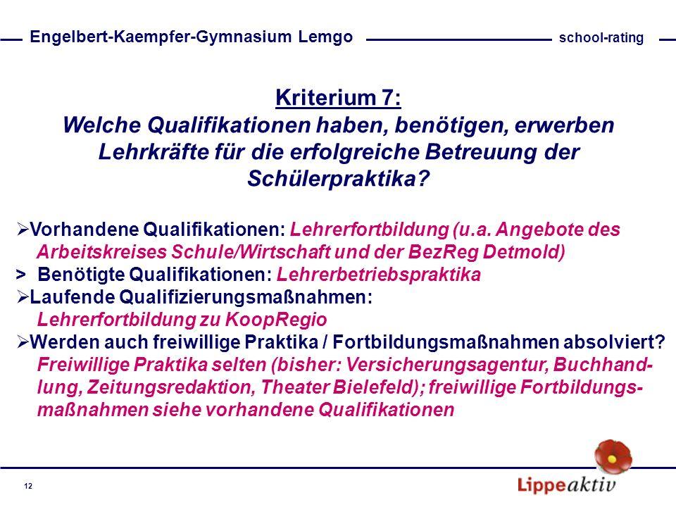 Kriterium 7: Welche Qualifikationen haben, benötigen, erwerben Lehrkräfte für die erfolgreiche Betreuung der Schülerpraktika? Vorhandene Qualifikation