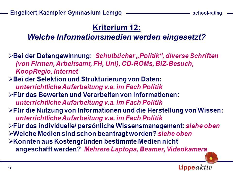 Kriterium 12: Welche Informationsmedien werden eingesetzt? Bei der Datengewinnung: Schulbücher Politik, diverse Schriften (von Firmen, Arbeitsamt, FH,
