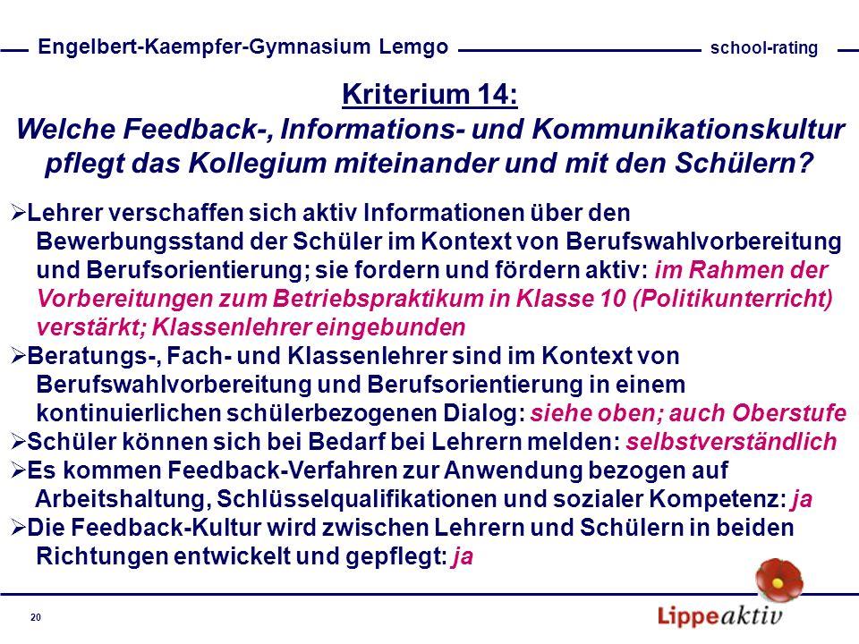 Kriterium 14: Welche Feedback-, Informations- und Kommunikationskultur pflegt das Kollegium miteinander und mit den Schülern? Lehrer verschaffen sich