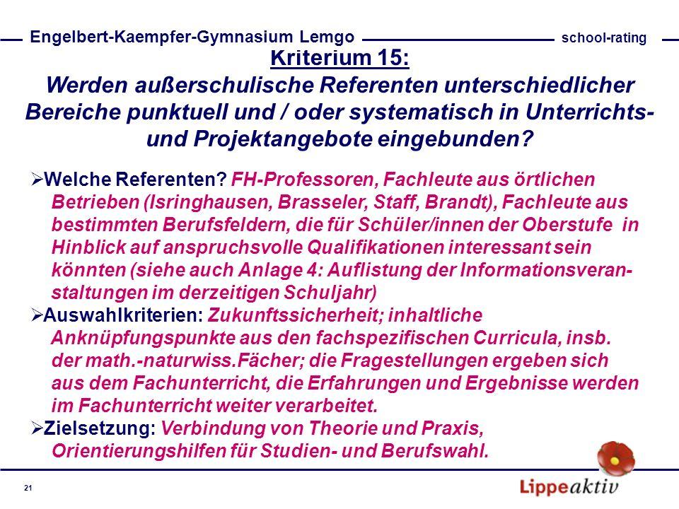 Kriterium 15: Werden außerschulische Referenten unterschiedlicher Bereiche punktuell und / oder systematisch in Unterrichts- und Projektangebote einge
