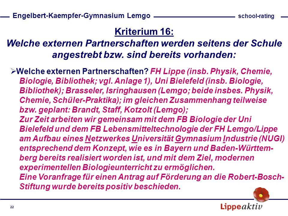Kriterium 16: Welche externen Partnerschaften werden seitens der Schule angestrebt bzw. sind bereits vorhanden: Welche externen Partnerschaften? FH Li