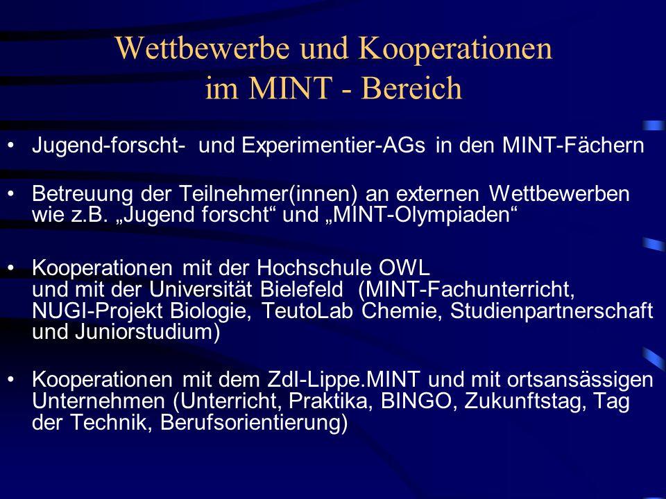 Wettbewerbe und Kooperationen im MINT - Bereich Jugend-forscht- und Experimentier-AGs in den MINT-Fächern Betreuung der Teilnehmer(innen) an externen Wettbewerben wie z.B.