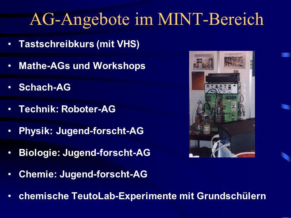 AG-Angebote im MINT-Bereich Tastschreibkurs (mit VHS) Mathe-AGs und Workshops Schach-AG Technik: Roboter-AG Physik: Jugend-forscht-AG Biologie: Jugend-forscht-AG Chemie: Jugend-forscht-AG chemische TeutoLab-Experimente mit Grundschülern