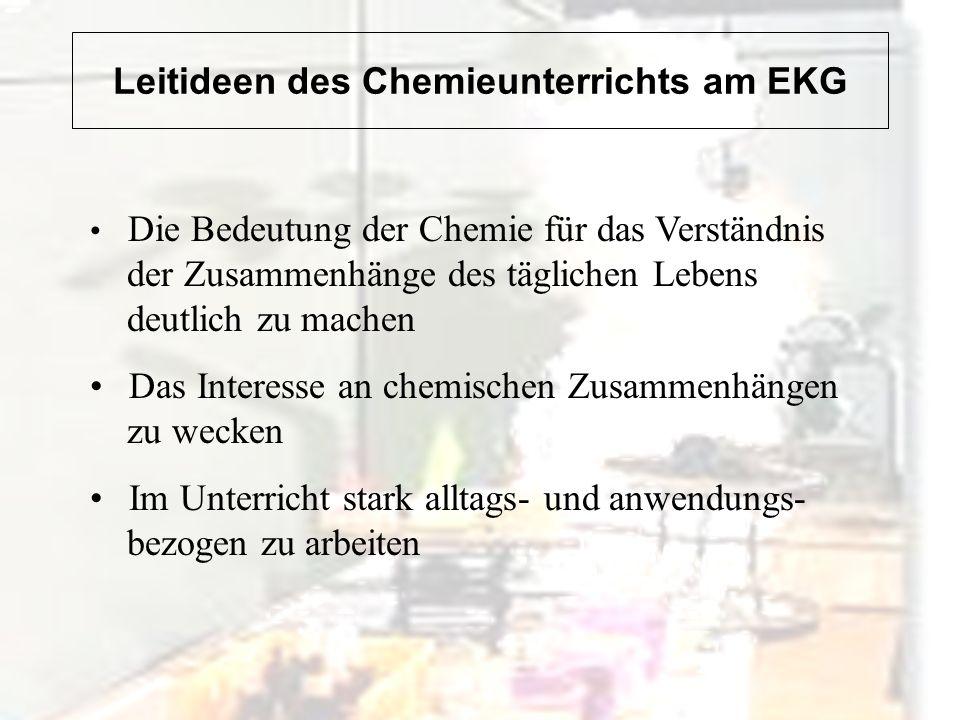 Beispiele für den Chemieunterricht am EKG Fleischwurstanalyse als Einstieg in den Chemieunterricht der Klasse 7 Projekt zum Thema Alchemie: Nur Betrug oder der Beginn der modernen Naturwissenschaft.
