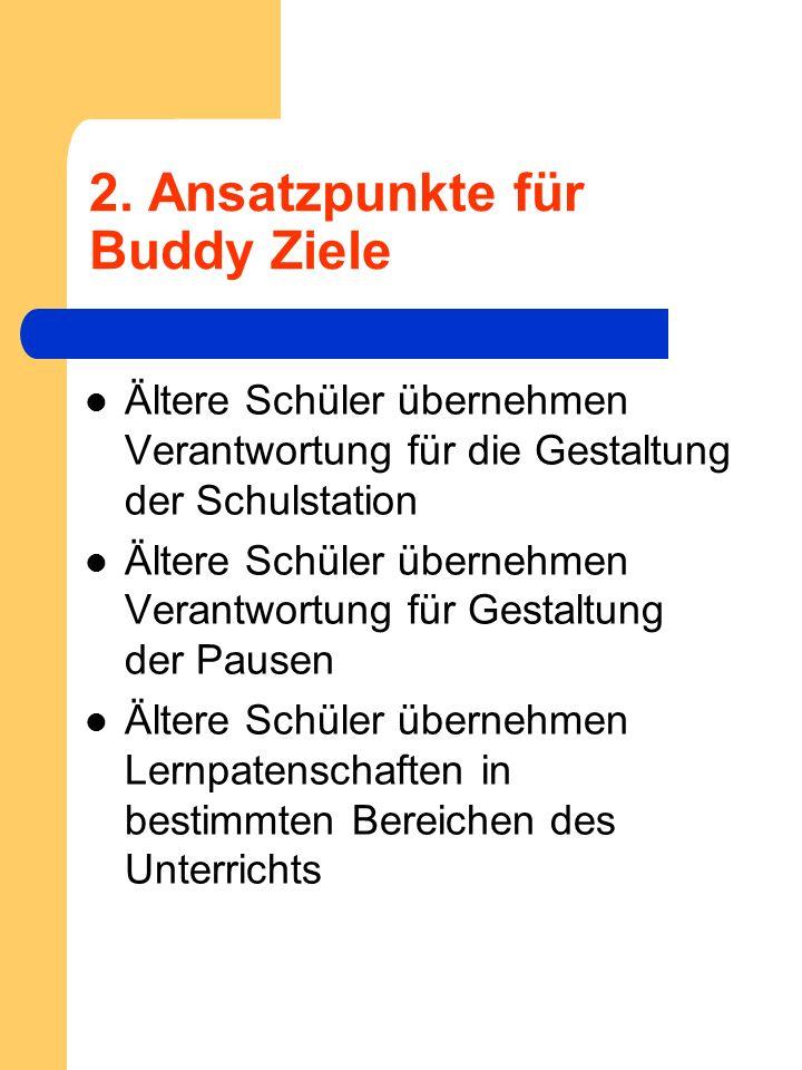 2. Ansatzpunkte für Buddy Ziele Ältere Schüler übernehmen Verantwortung für die Gestaltung der Schulstation Ältere Schüler übernehmen Verantwortung fü
