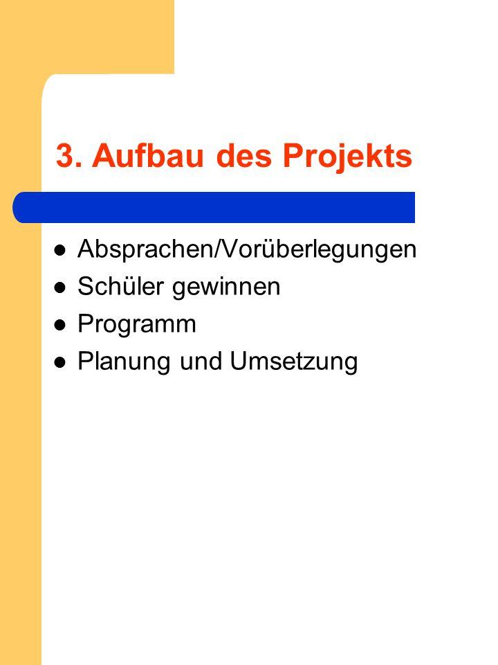 3. Aufbau des Projekts Absprachen/Vorüberlegungen Schüler gewinnen Programm Planung und Umsetzung