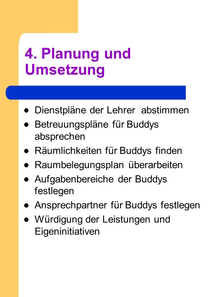 4. Planung und Umsetzung Dienstpläne der Lehrer abstimmen Betreuungspläne für Buddys absprechen Räumlichkeiten für Buddys finden Raumbelegungsplan übe