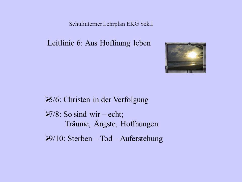 5/6: Wir leben miteinander; Wahrheit und Lüge 7/8: Flucht in die Sucht; Aberglaube/Okkultismus 9/10: Ausgegrenzt – Umgang mit Fremden; (Todes-)Strafe;