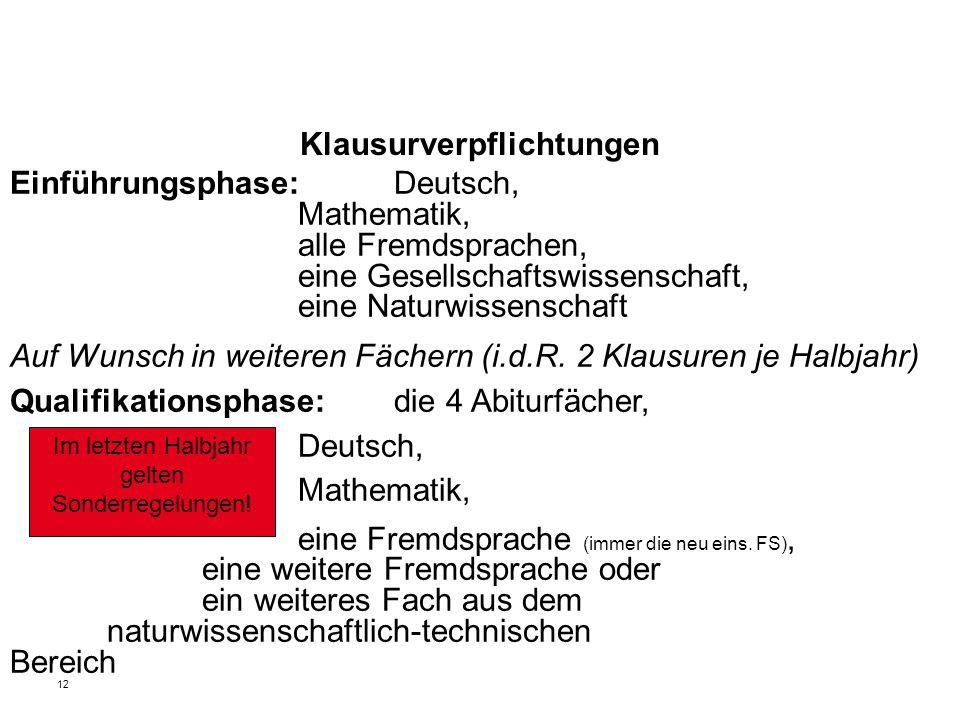 12 Klausurverpflichtungen Einführungsphase: Deutsch, Mathematik, alle Fremdsprachen, eine Gesellschaftswissenschaft, eine Naturwissenschaft Auf Wunsch in weiteren Fächern (i.d.R.