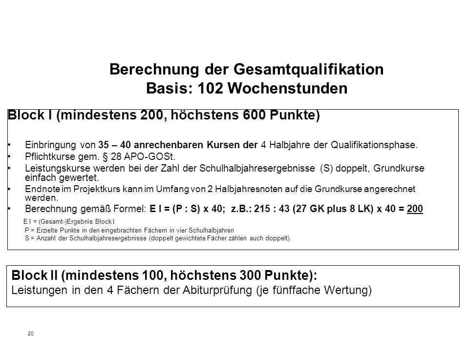 20 Berechnung der Gesamtqualifikation Basis: 102 Wochenstunden Block I (mindestens 200, höchstens 600 Punkte) Einbringung von 35 – 40 anrechenbaren Kursen der 4 Halbjahre der Qualifikationsphase.