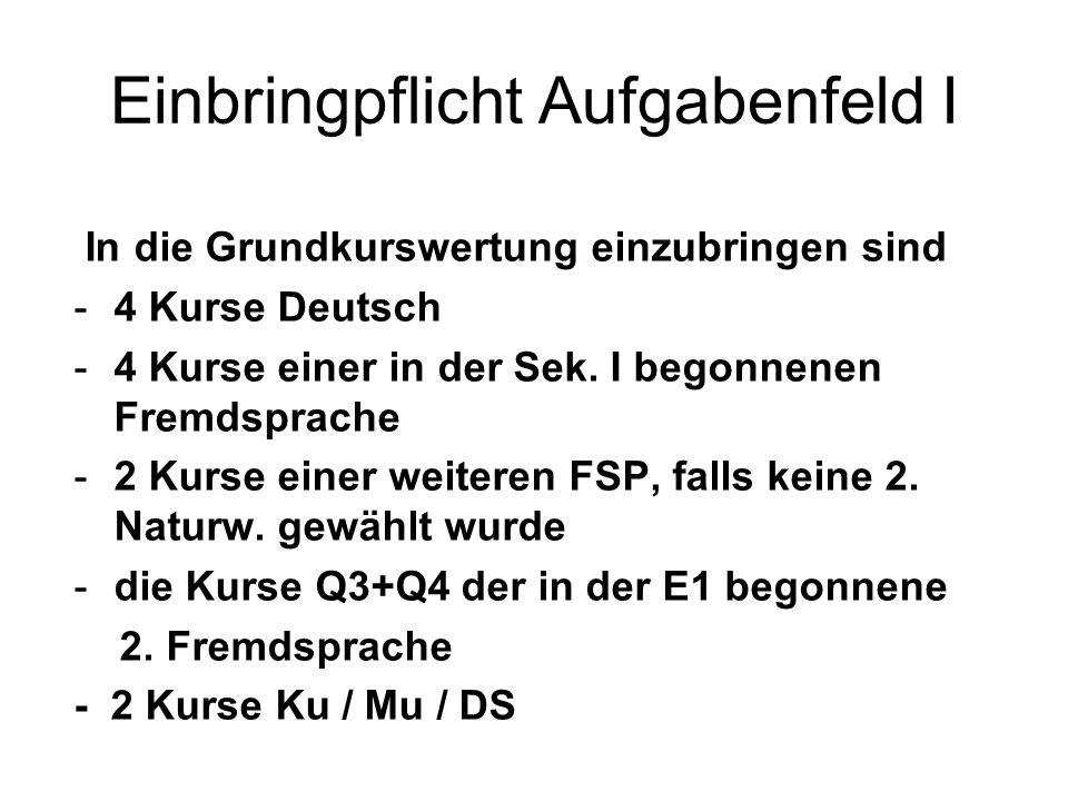 Einbringpflicht Aufgabenfeld I In die Grundkurswertung einzubringen sind -4 Kurse Deutsch -4 Kurse einer in der Sek. I begonnenen Fremdsprache -2 Kurs