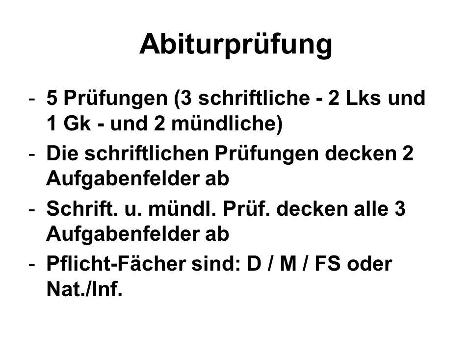 Abiturprüfung -5 Prüfungen (3 schriftliche - 2 Lks und 1 Gk - und 2 mündliche) -Die schriftlichen Prüfungen decken 2 Aufgabenfelder ab -Schrift. u. mü
