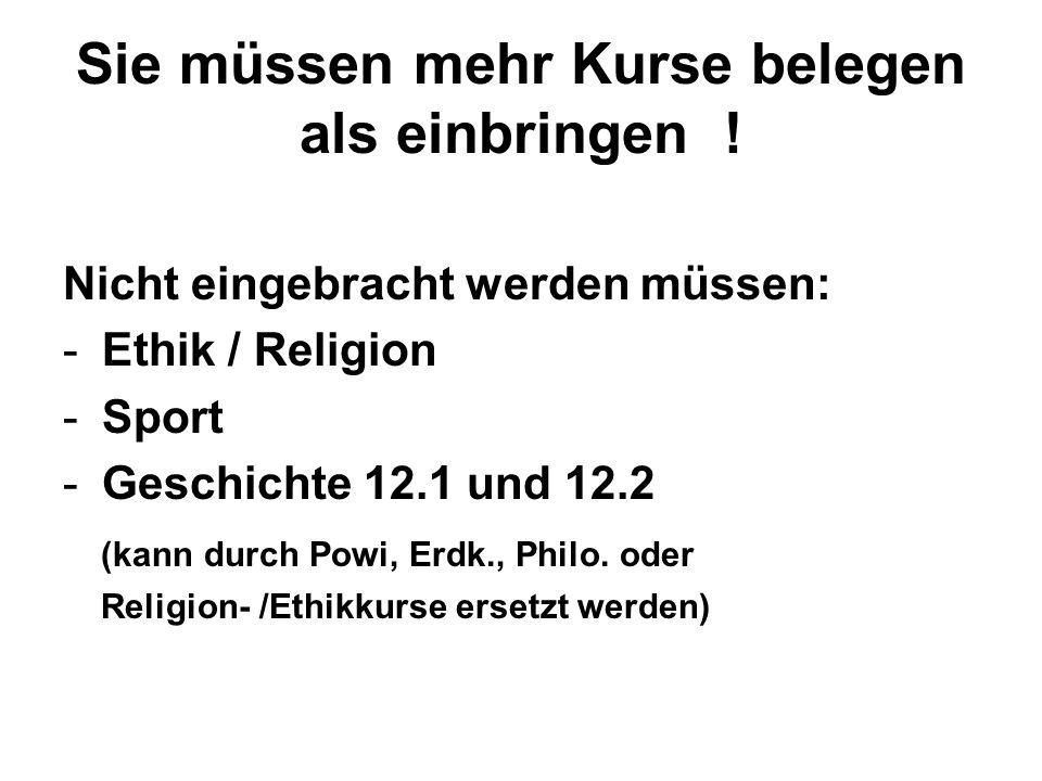 Sie müssen mehr Kurse belegen als einbringen ! Nicht eingebracht werden müssen: -Ethik / Religion -Sport -Geschichte 12.1 und 12.2 (kann durch Powi, E