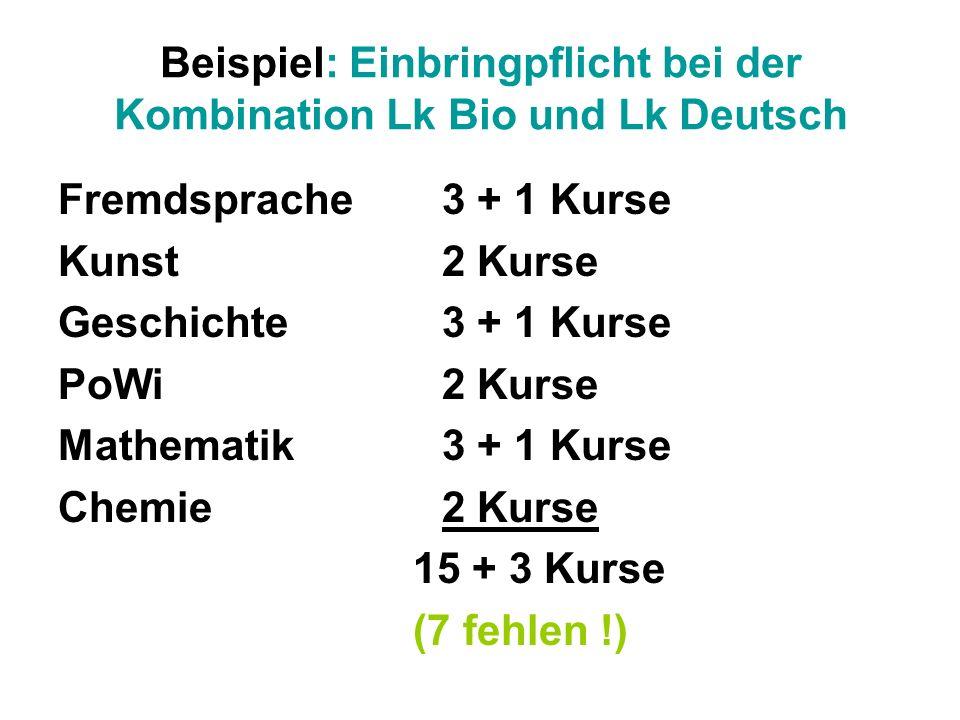Beispiel: Einbringpflicht bei der Kombination Lk Bio und Lk Deutsch Fremdsprache 3 + 1 Kurse Kunst 2 Kurse Geschichte 3 + 1 Kurse PoWi 2 Kurse Mathema