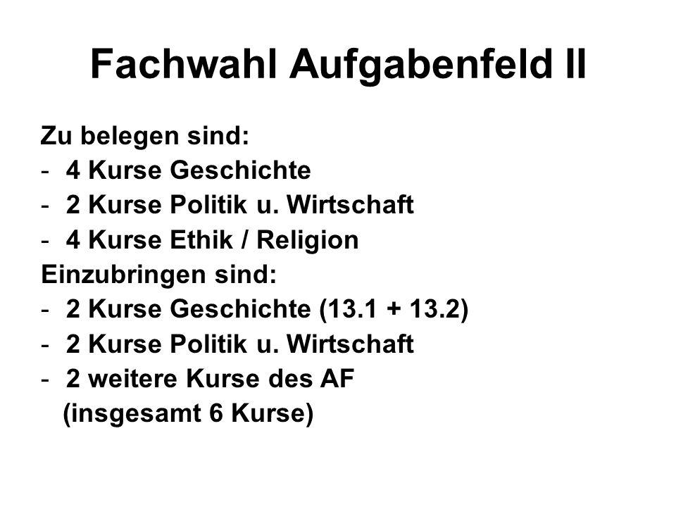 Fachwahl Aufgabenfeld II Zu belegen sind: -4 Kurse Geschichte -2 Kurse Politik u.