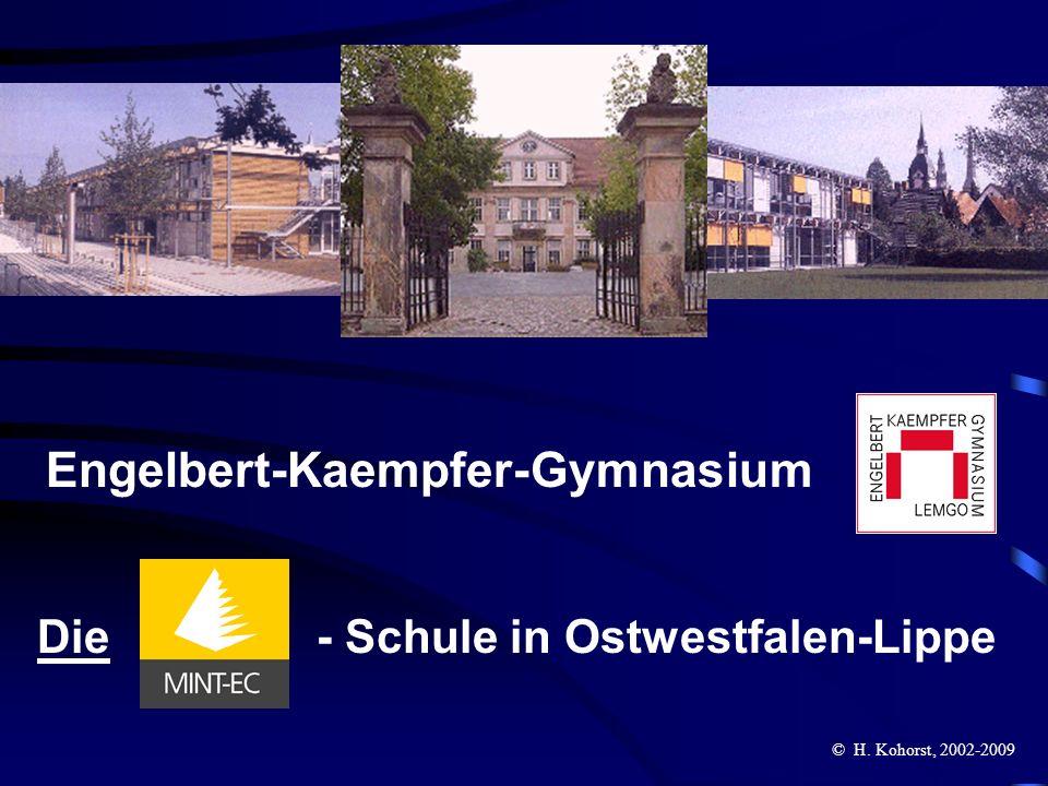 EKG Lemgo – die MINT-EC-Schule in Ostwestfalen-Lippe im Herbst 2003 zertifiziert, im Herbst 2006 und im Winter 2009 wiederzertifiziert und ausgezeichnet als eins der bundesweit inzwischen 100 mathematisch-naturwis- senschaftlichen Excellence-Center im Dez.