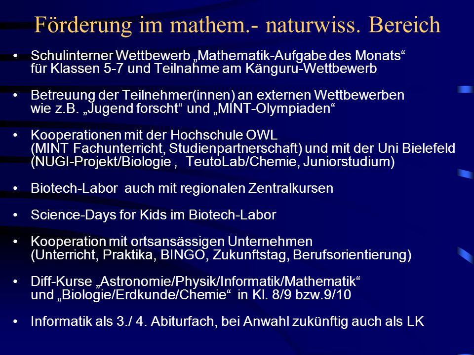 Förderung im mathem.- naturwiss.