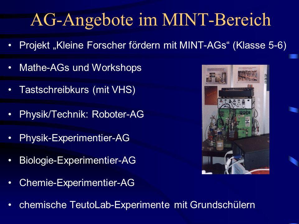 AG-Angebote im MINT-Bereich Projekt Kleine Forscher fördern mit MINT-AGs (Klasse 5-6) Mathe-AGs und Workshops Tastschreibkurs (mit VHS) Physik/Technik: Roboter-AG Physik-Experimentier-AG Biologie-Experimentier-AG Chemie-Experimentier-AG chemische TeutoLab-Experimente mit Grundschülern