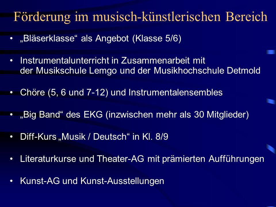 Förderung im musisch-künstlerischen Bereich Bläserklasse als Angebot (Klasse 5/6) Instrumentalunterricht in Zusammenarbeit mit der Musikschule Lemgo und der Musikhochschule Detmold Chöre (5, 6 und 7-12) und Instrumentalensembles Big Band des EKG (inzwischen mehr als 30 Mitglieder) Diff-Kurs Musik / Deutsch in Kl.