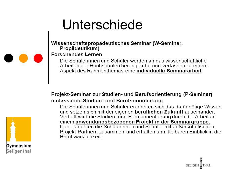 Unterschiede Wissenschaftspropädeutisches Seminar (W-Seminar, Propädeutikum) Forschendes Lernen Die Schülerinnen und Schüler werden an das wissenschaf